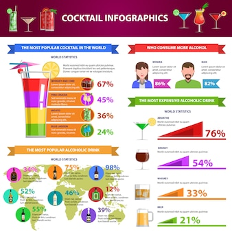 Cocktail infographics set