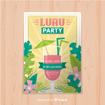 Cocktail luau poster sjabloon