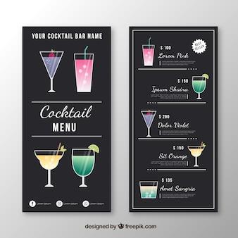 Cocktail menusjabloon in platte ontwerp