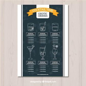 Cocktail menusjabloon in schoolbord stijl
