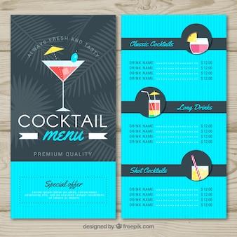Cocktail menusjabloon in vlakke stijl