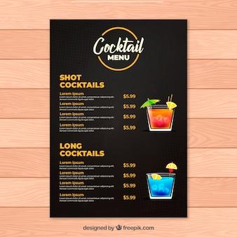 Cocktail menusjabloon met platte ontwerp
