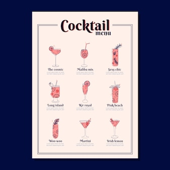 Cocktail menusjabloon met verschillende dranken