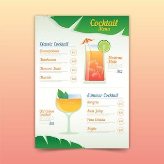 Cocktail menusjabloon