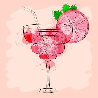 Cocktail met roze grapefruit hand getrokken vectorillustratie