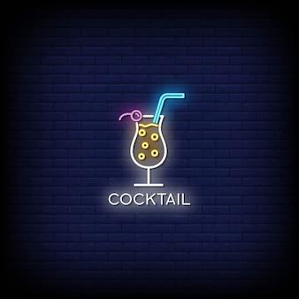 Cocktail neonreclames op donkere muur
