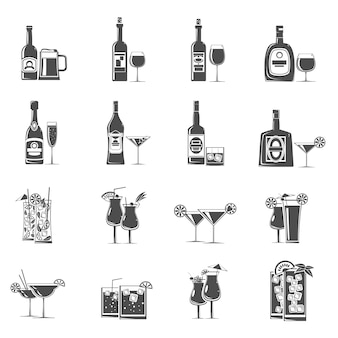 Cocktail pictogrammen zwart
