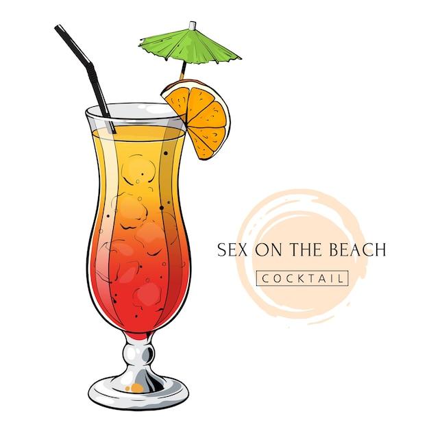 Cocktail sex op het strand handgetekende alcoholdrank met sinaasappelschijfje en paraplu