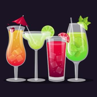 Cocktailcollectie in plat ontwerp