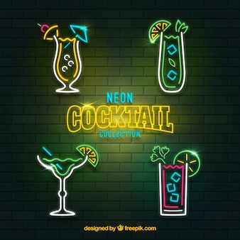 Cocktailcollectie met neonlichtstijl