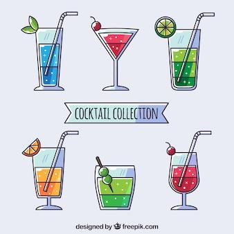 Cocktailcollectie met plat ontwerp