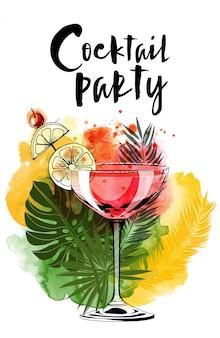 Cocktailparty aquarel en schets achtergrond