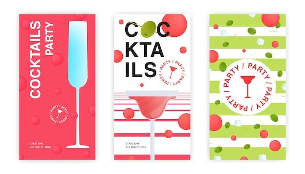 Cocktailparty flyer, uitnodiging sjablonen set. verzameling