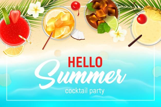 Cocktails bovenaanzicht realistische zomer met fruitkaart