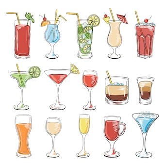 Cocktails collectie. vector set
