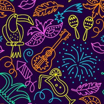 Cocktails en vuurwerk naadloos carnaval-patroon