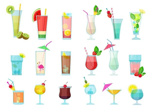 Cocktails. glazen met alcoholische dranken transparante cocktailmix met fruit margarita wodka martini sambuca
