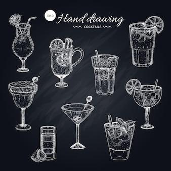 Cocktails hand getrokken collectie
