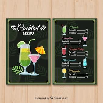 Cocktails menusjabloon in vlakke stijl