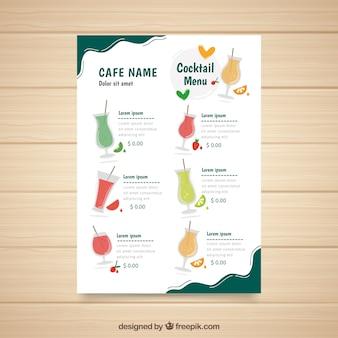 Cocktails menusjabloon met verschillende likeuren