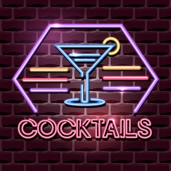 Cocktails neon reclamebord