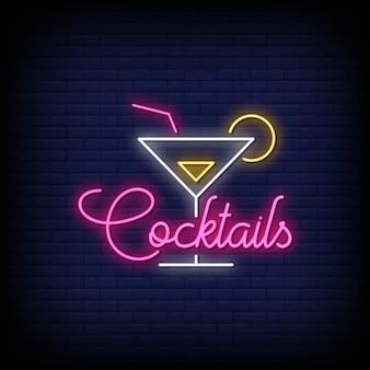 Cocktails neon signs stijl tekst