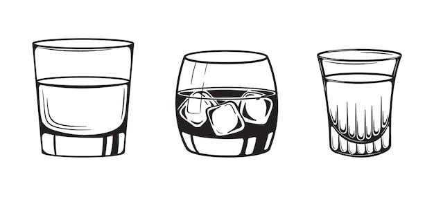Cocktails schets alcoholische glas hand getrokken gravure vectorillustratie.