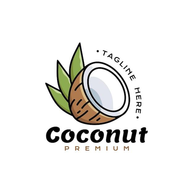 Coconut icon logo premium gespleten kokosnoot
