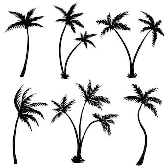 Coconut palm tree silhouet illustratie