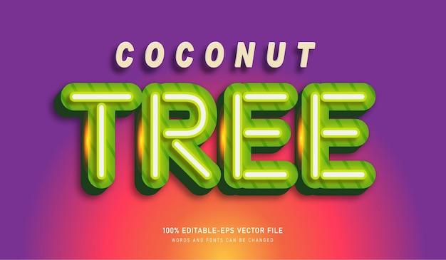 Coconut tree teksteffect lettertype sjabloon