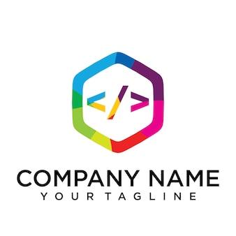 Code letter logo icon zeshoek ontwerpsjabloon element
