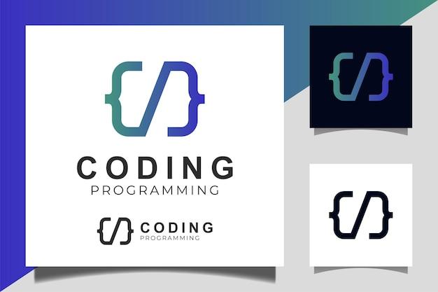 Code logo sjabloon gradiënt ontwerp pictogram vector voor het coderen en programmeren van logo-ontwerp
