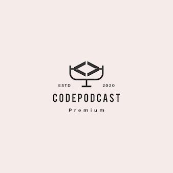 Code podcast logo hipster retro vintage pictogram voor web software codering ontwikkeling blog video review vlog tutorial kanaal
