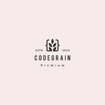 Codekorrelblad verlaat logo hipster retro vintage voor web front back-end ontwikkelaars