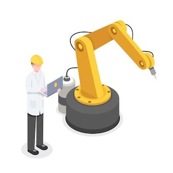 Coder, programmeur die de robotarm handmatig bestuurt. robotica, cybernetica-onderzoeker ontwikkelen