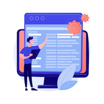 Codering en website-ontwikkeling. technische hulp. programmering engineering. coder, webontwikkelaar, computersoftware. programmeur mannelijke platte karakter concept illustratie