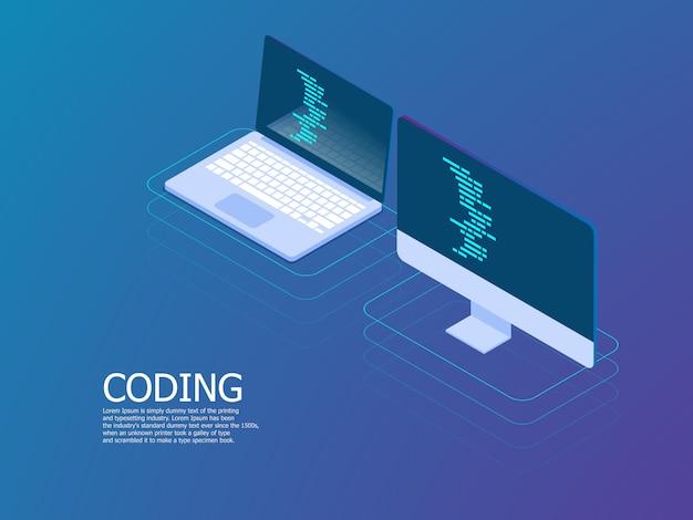 Codering met laptop vector isometrisch