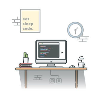 Codering programmeur werkruimte met cactus, koffie en boek illustratie. witte geïsoleerde achtergrond