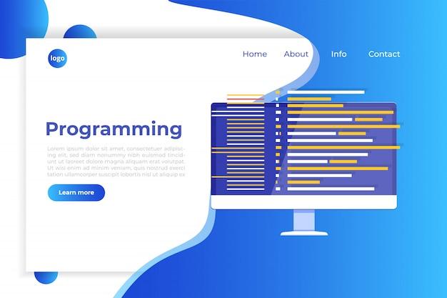 Codering, softwareontwikkeling, programmeren, programmacode op het scherm