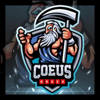 Coeus griekse mascotte esport logo ontwerp