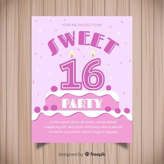 Cofetti-cake zestien partijuitnodiging