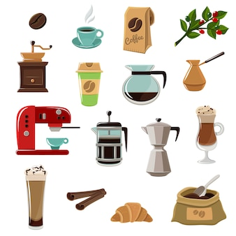 Coffe retro flat icons set