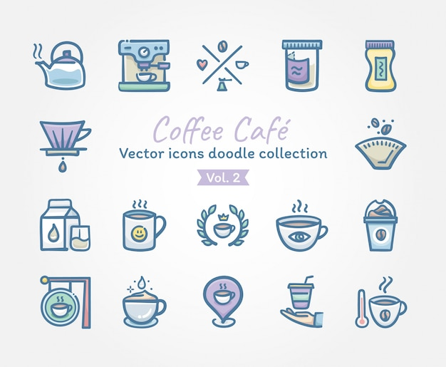 Coffee café vector pictogrammen doodle collectie