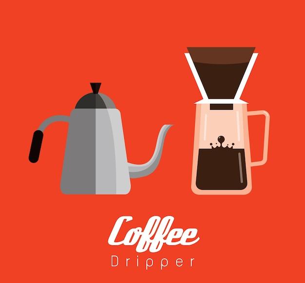 Coffee dripper uitrustingen. platte ontwerpelementen. vector illustratie