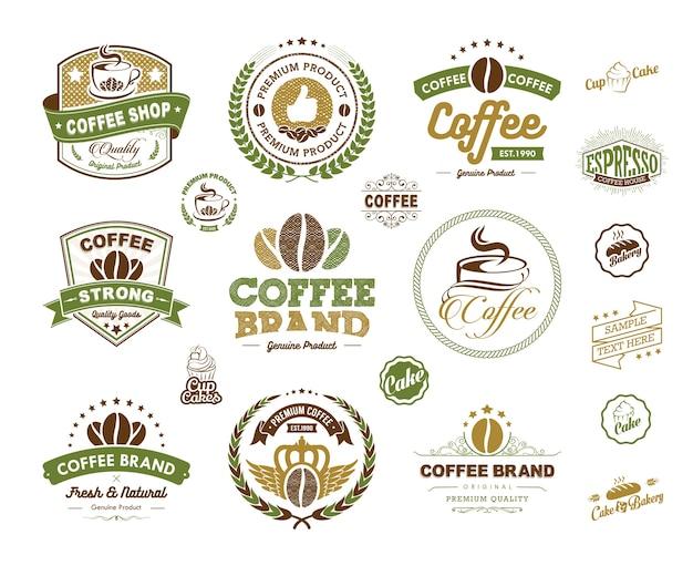 Coffee logos-badges en etikettenelement