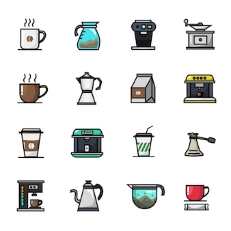 Coffee shop barista cafe-elementen volledige kleur icon set