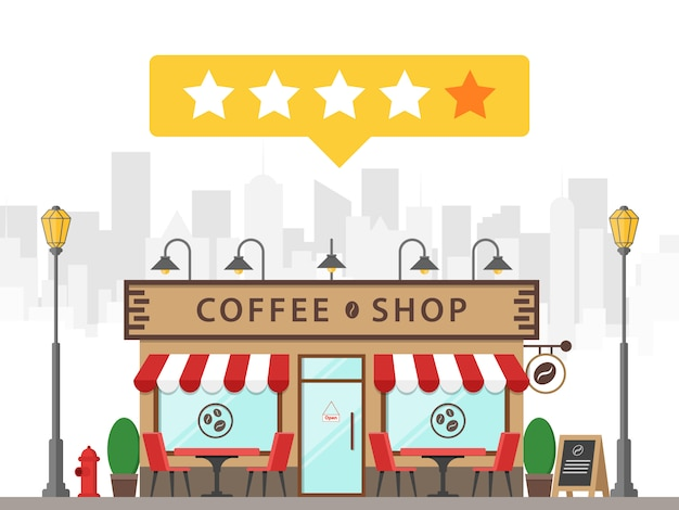 Coffee shop building street vector icon rating star review