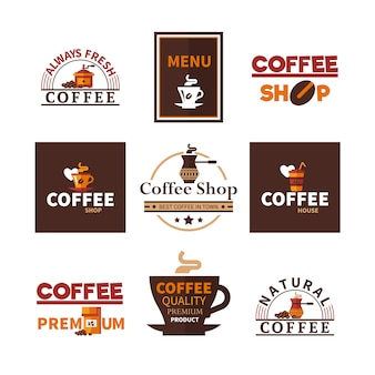 Coffee shop cafe-emblemenverzameling