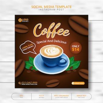 Coffee shop drink menu banner promotie social media post template