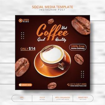 Coffee shop drink menu promotie social media post template